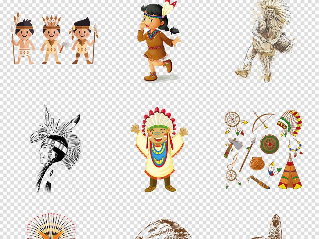 头饰卡通印第安人卡通人物印第安人印第安人绘画古老印第安人头饰彩色