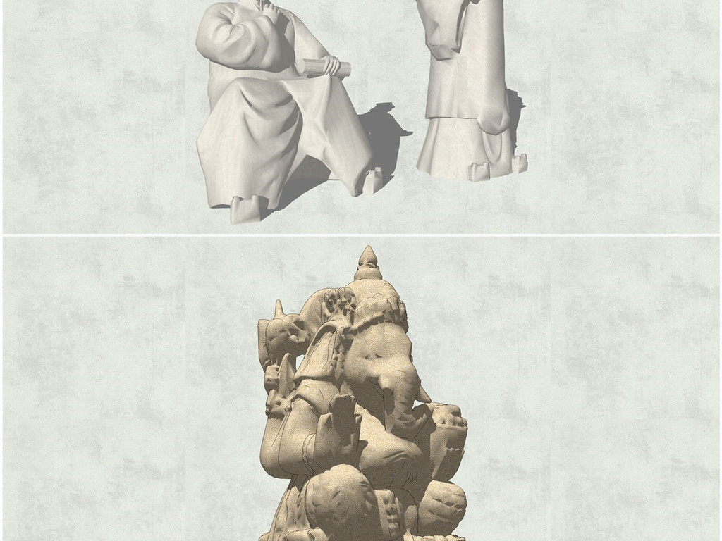 精品中国古代人物雕塑孔子孟子皇帝屈原关羽关公雕像雕塑su模型