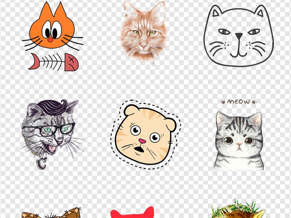 猫猫头卡通猫手绘卡通