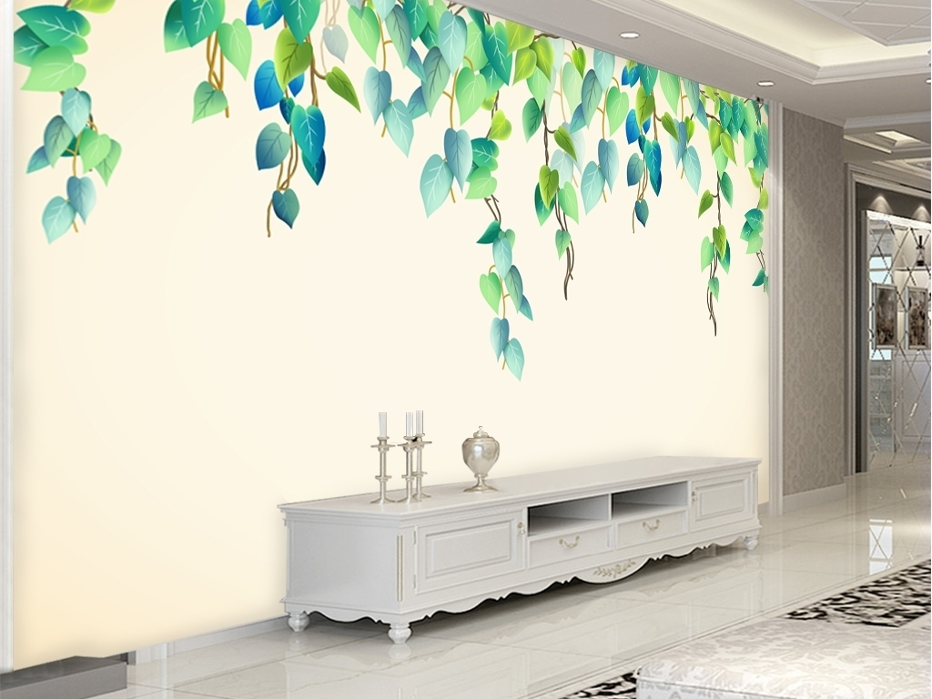 北欧简约小清新手绘水彩绿叶藤蔓电视背景墙