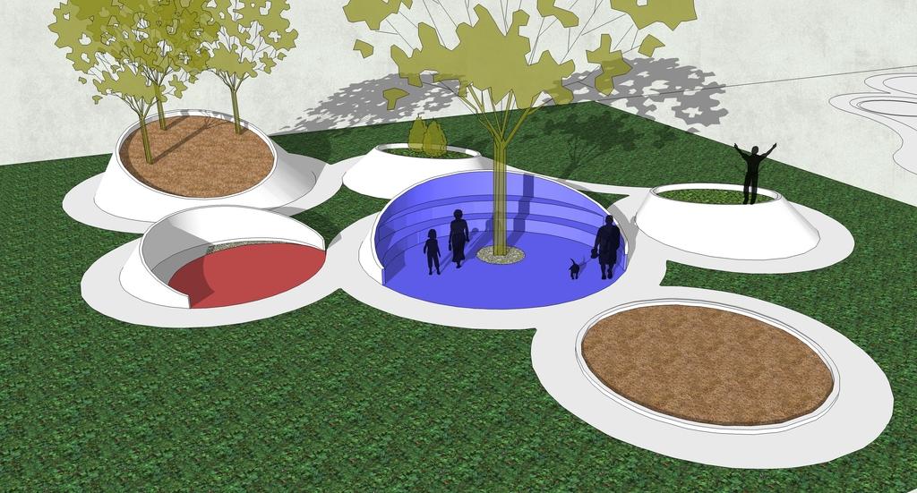 坐凳景观创意中式户外别墅景观公园小区欧式风格现代中式公园景观现图片