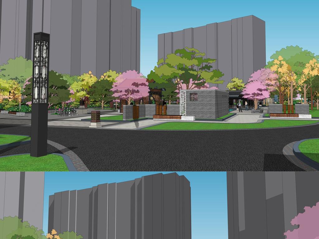 入口景观庭院广场公园园林建筑水景小品喷泉广场景观小区大门建筑su