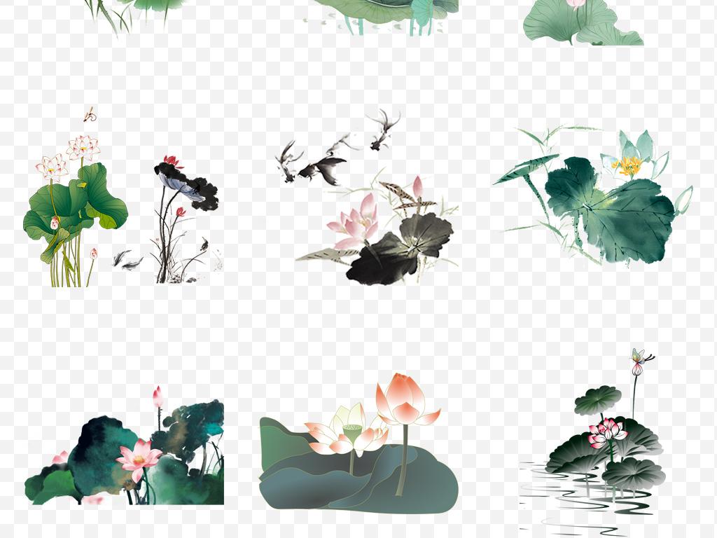 手绘中国风水墨国画荷花荷叶图片背景png素材