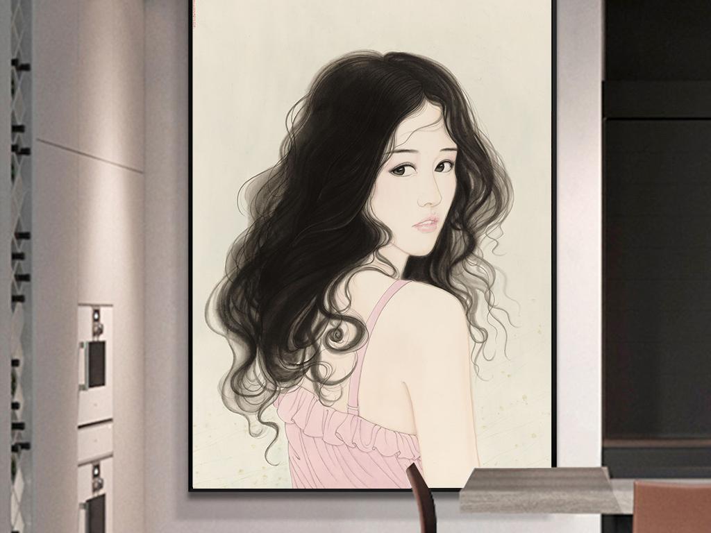 高清现代北欧简约时尚创意手绘美女女人装饰画