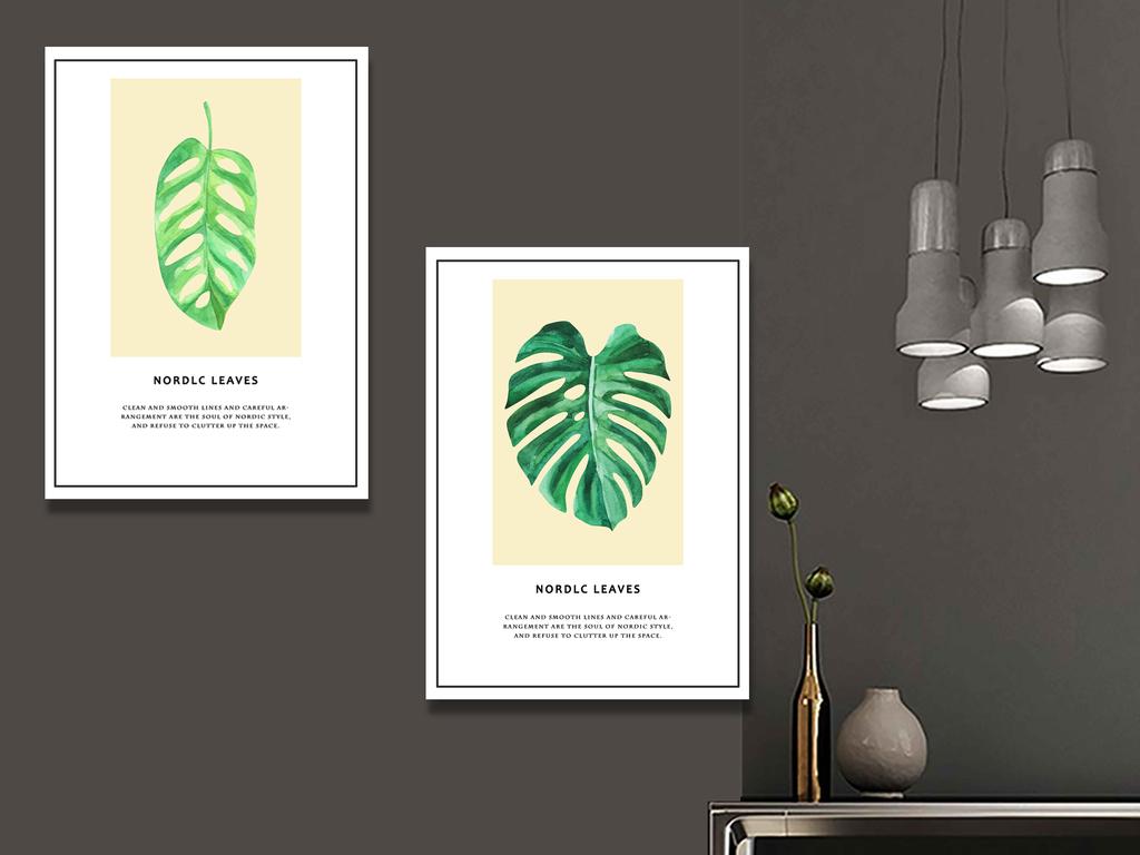 北欧装饰画树叶图片