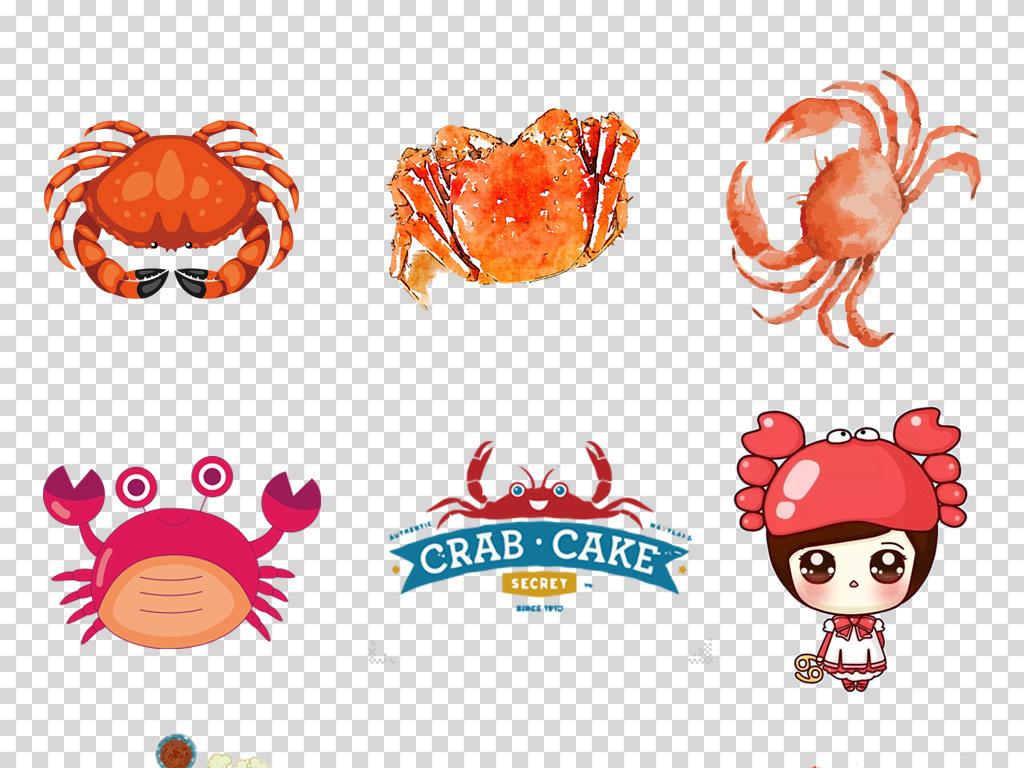 卡通手绘水墨大闸蟹螃蟹河蟹香辣蟹美食海报png素材