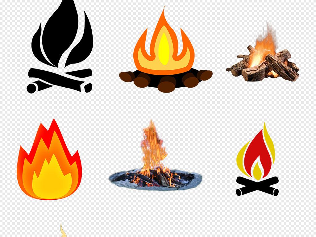 卡通手绘红色火焰篝火柴堆火炬火堆火png
