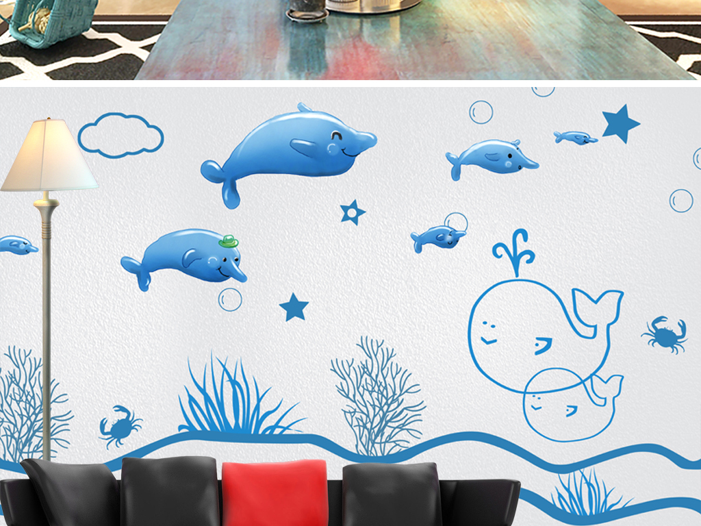 手绘卡通动漫海豚大海蓝色卧室背景墙