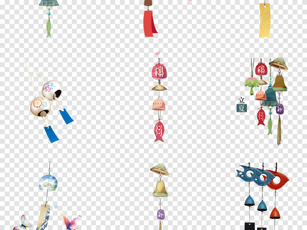 卡通古风风铃铃铛手绘复古吉祥物png免扣素材