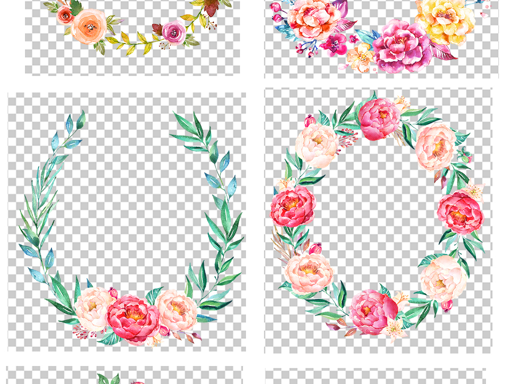 精美小清新水彩花卉花环素材png