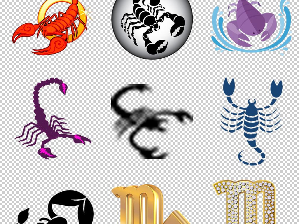 创意十二星座天蝎座卡通手绘蝎子图标素材png