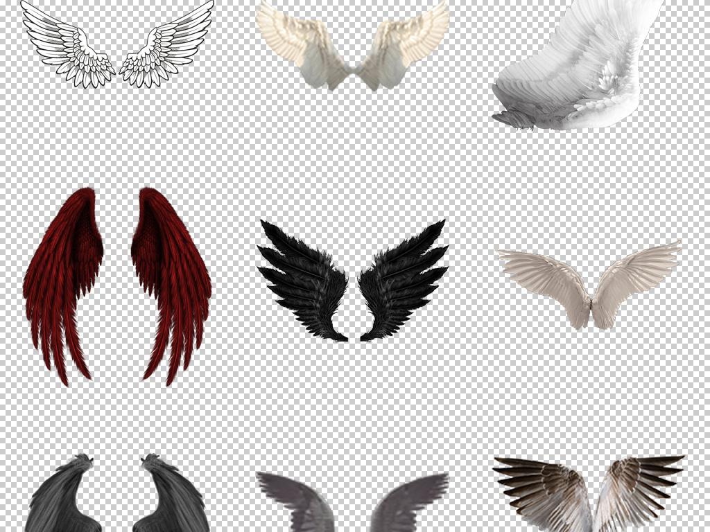 45款精美手绘创意天使恶魔动物翅膀png图片素材