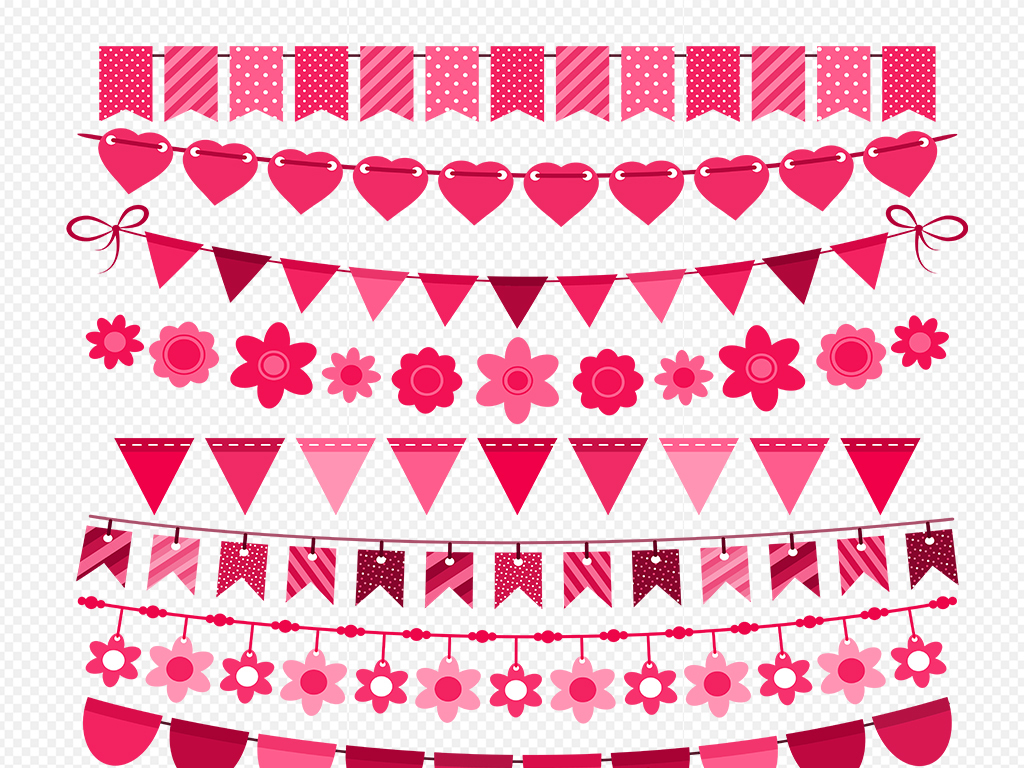 手绘卡通彩旗节日彩旗吊旗设计素材促销小报海报装饰边框素材