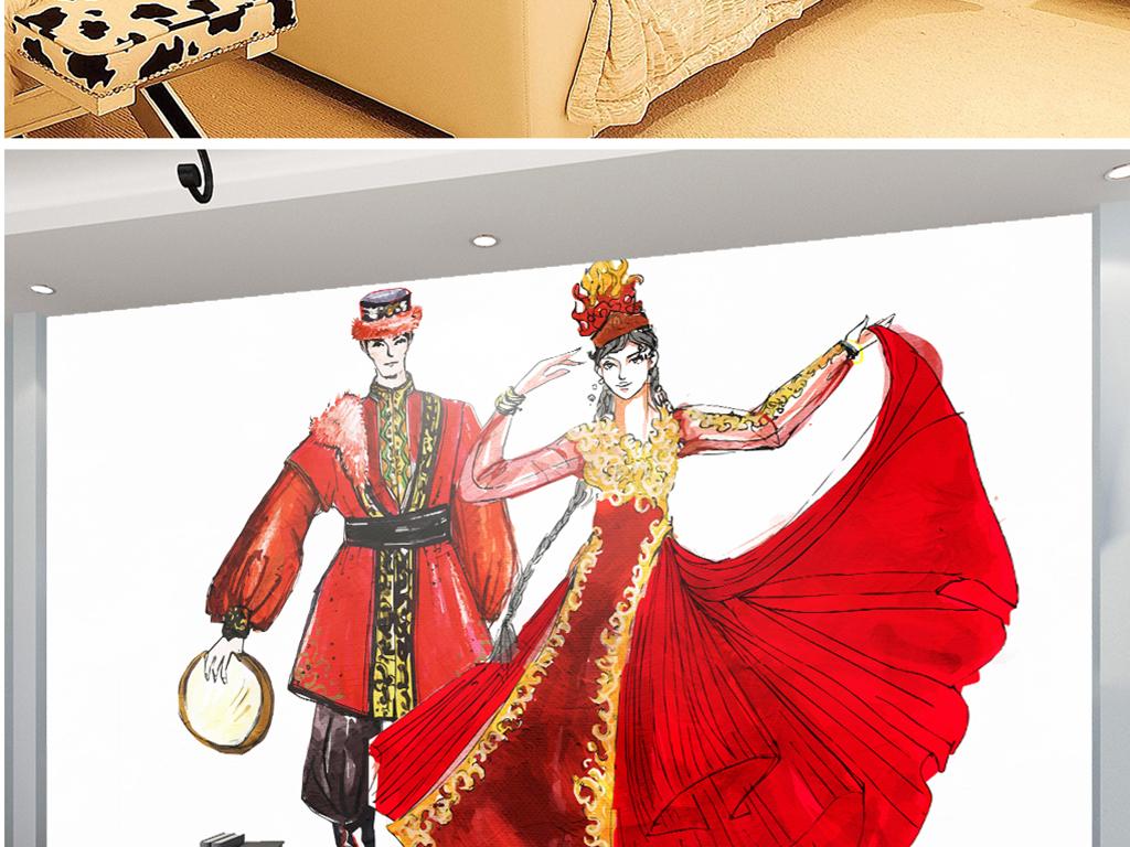 手绘维吾尔族少女民族风