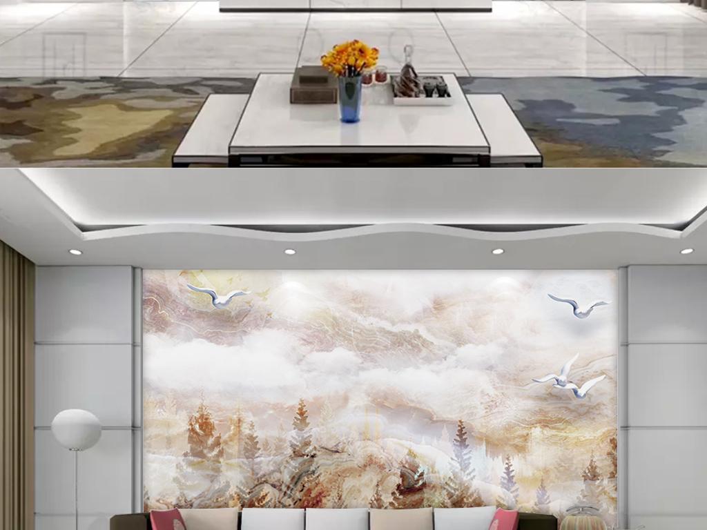现代简约抽象大理石纹玉石背景墙梦幻森林