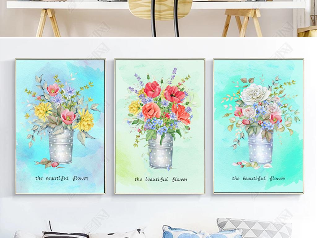 北欧风三联装饰画手绘水彩植物花卉