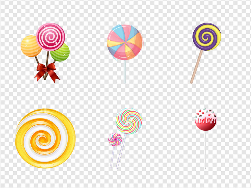 彩虹棒棒糖零食手绘