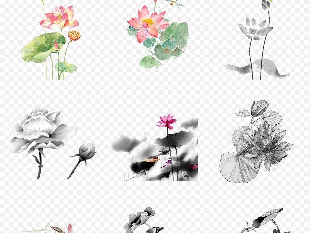 中秋节手绘水墨荷花荷叶海报素材背景图片png