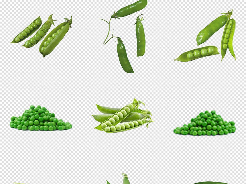 手绘卡通蔬菜豌豆扁豆毛豆豆子png素材