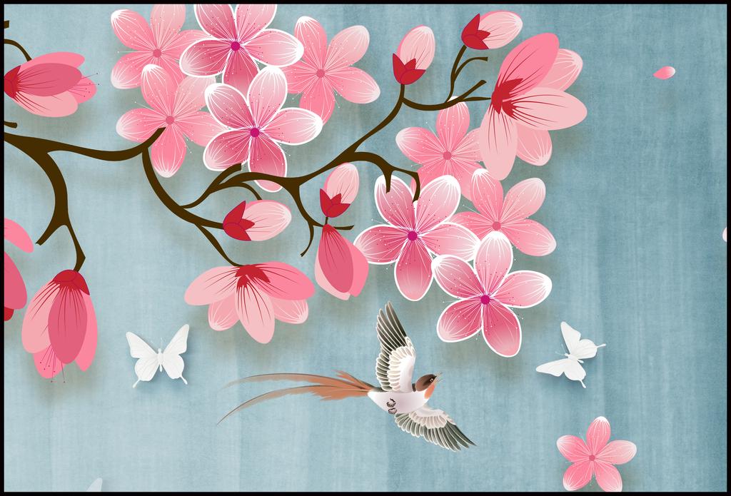 桃花新中式手绘工笔花鸟背景墙装饰画