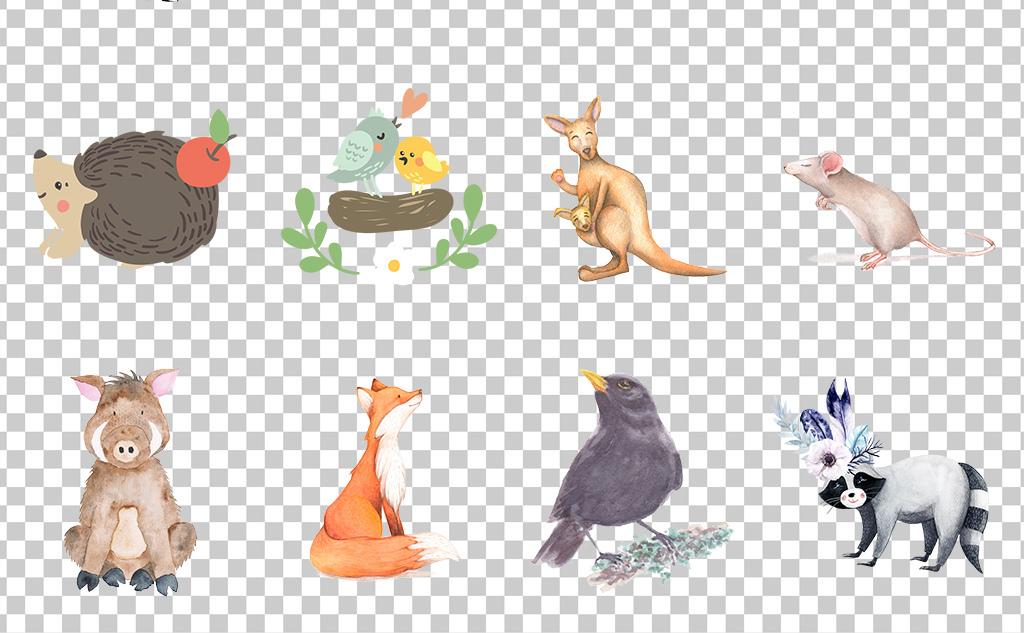 01107手绘水彩动物可爱卡通动物免抠素材