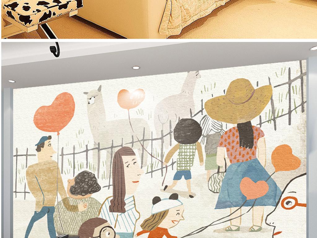 手绘动物园羊驼小孩