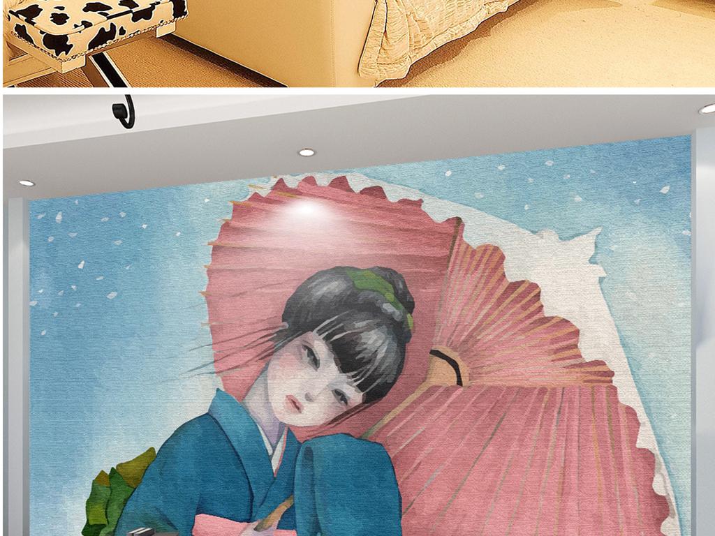 手绘和风女孩纸伞雪花
