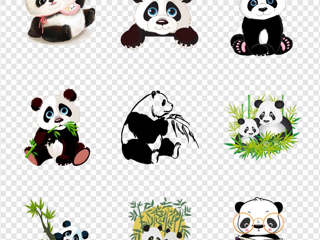 国宝大熊猫可爱卡通手绘熊猫海报png素材