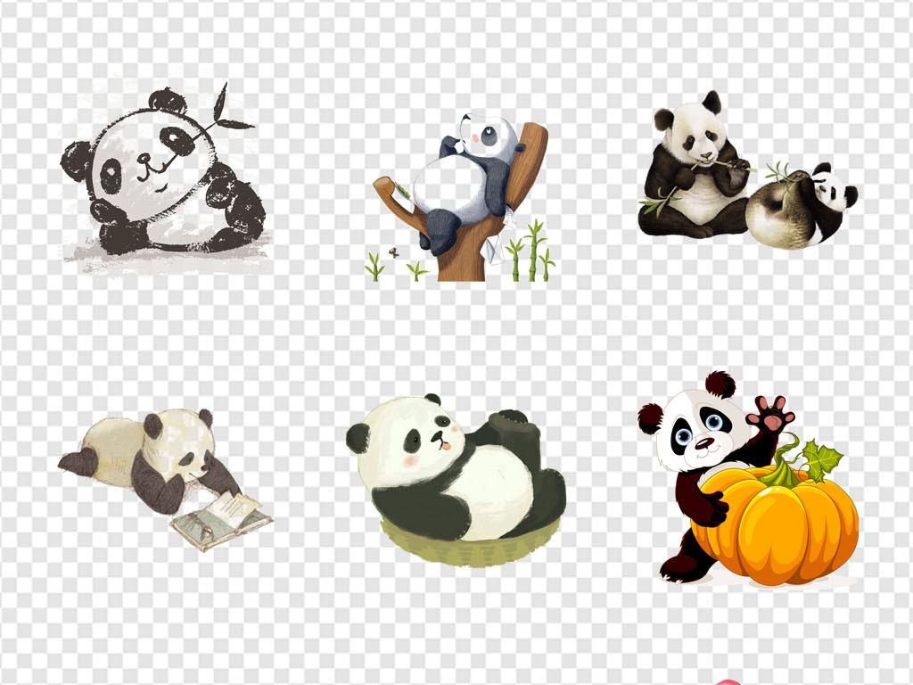免抠元素 自然素材 动物 > 国宝大熊猫可爱卡通手绘熊猫海报png素材