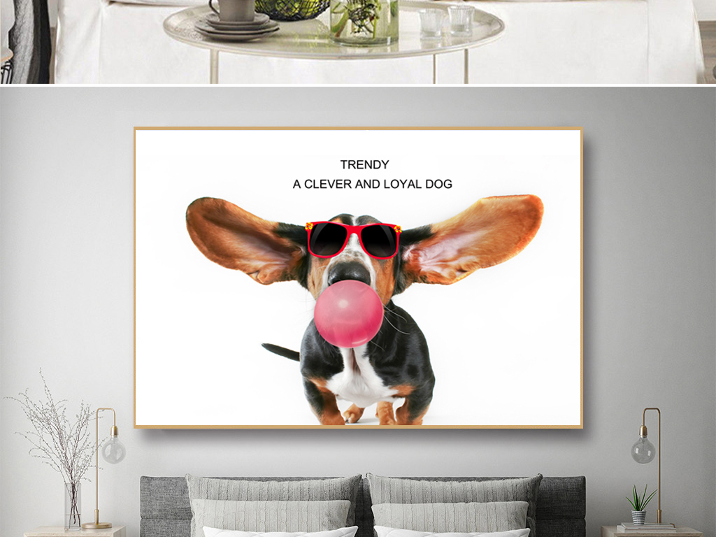 北欧简约创意大耳朵萌狗ins艺术动物装饰画