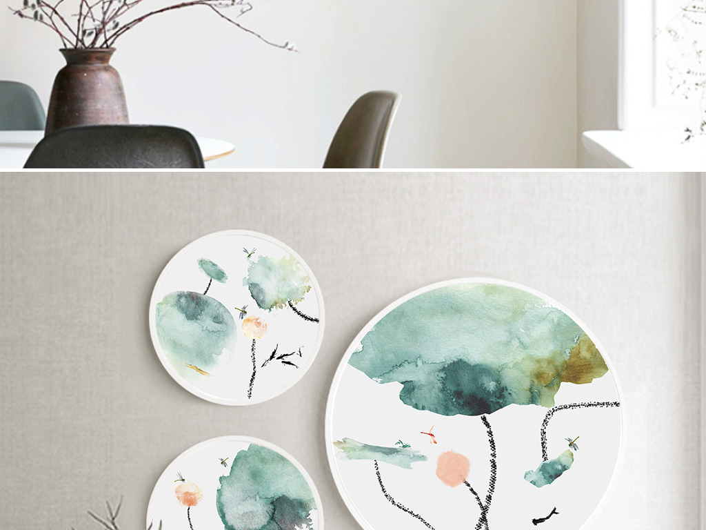 新中式手绘古典素雅水墨荷花圆形三联装饰画