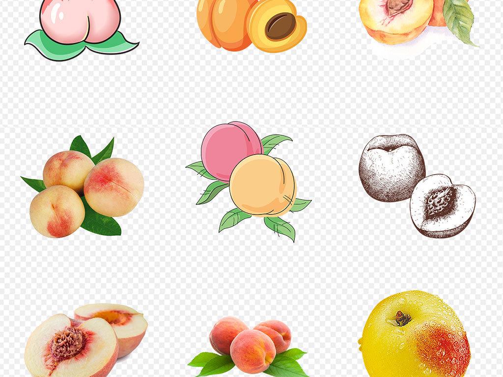 手绘卡通黄桃水蜜桃桃子海报png免扣素材