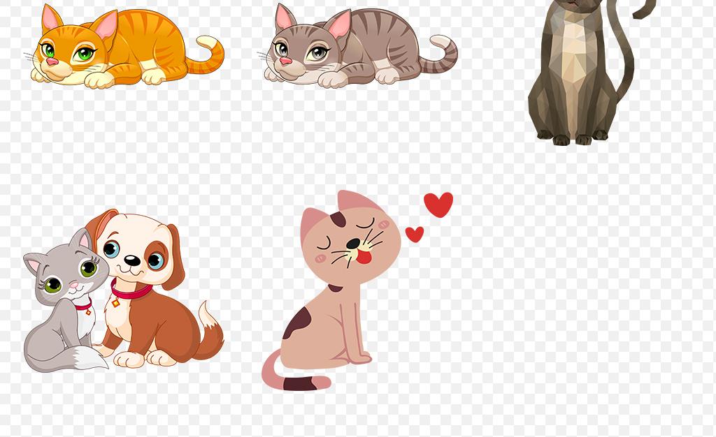 设计宠物猫幼儿园儿童画手绘插画小猫咪