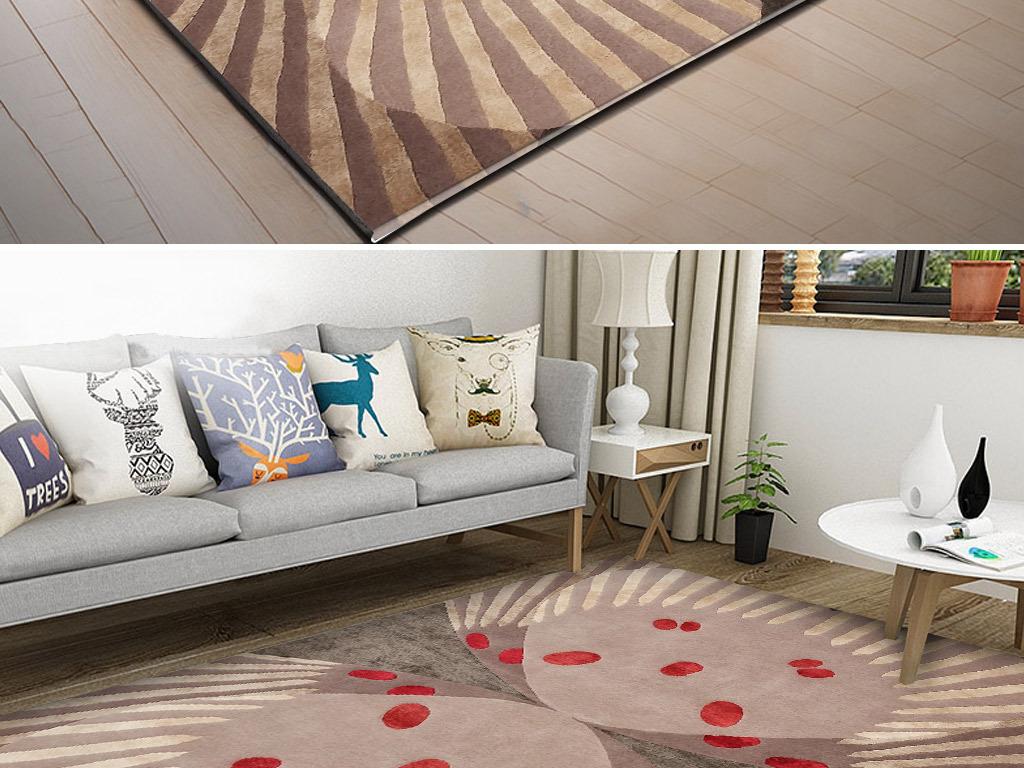 北欧简约手绘蝴蝶客厅卧室床边地毯