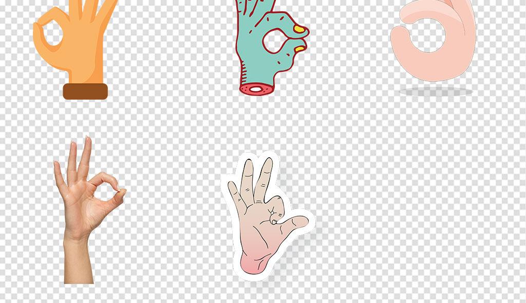卡通手绘OK手势没问题手指动作png素材图片 模板下载 20.90MB 手势图片