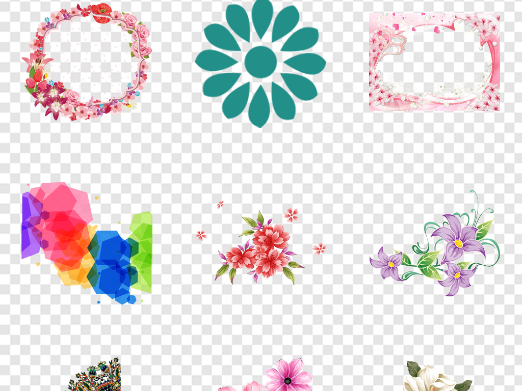 手绘花春天素材小报素材花边边框