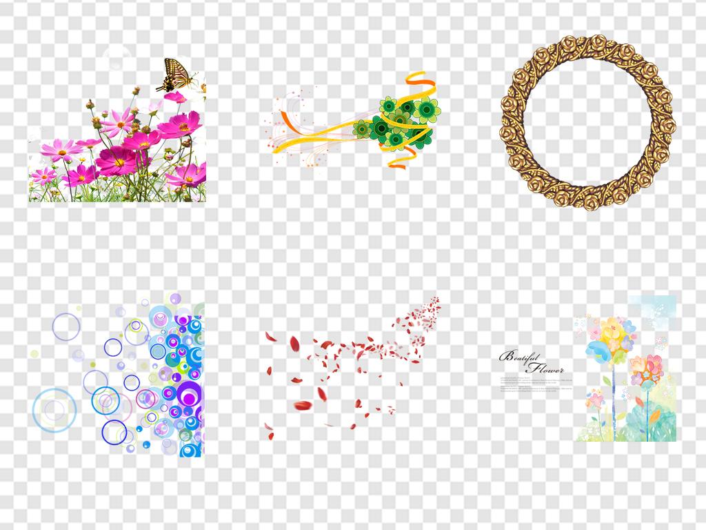 花边边框卡通小花卡通背景手绘花卉