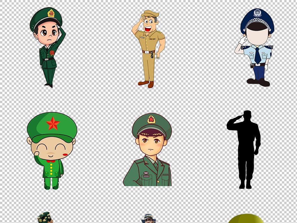 卡通红军军人战士士兵武警阅兵军事免扣素材图片