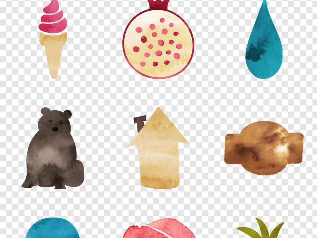 卡通小动物                                          水彩