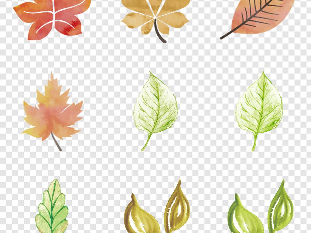 手绘小清新绿色清新森系树叶