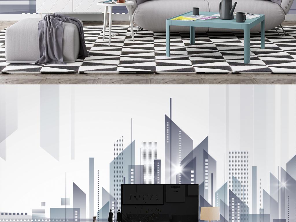北欧几何建筑现代简约电视背景墙壁画图片