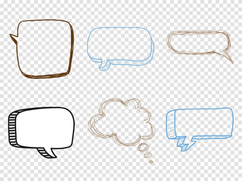 卡通手绘气泡对话框会话框爆炸边框png免扣素材