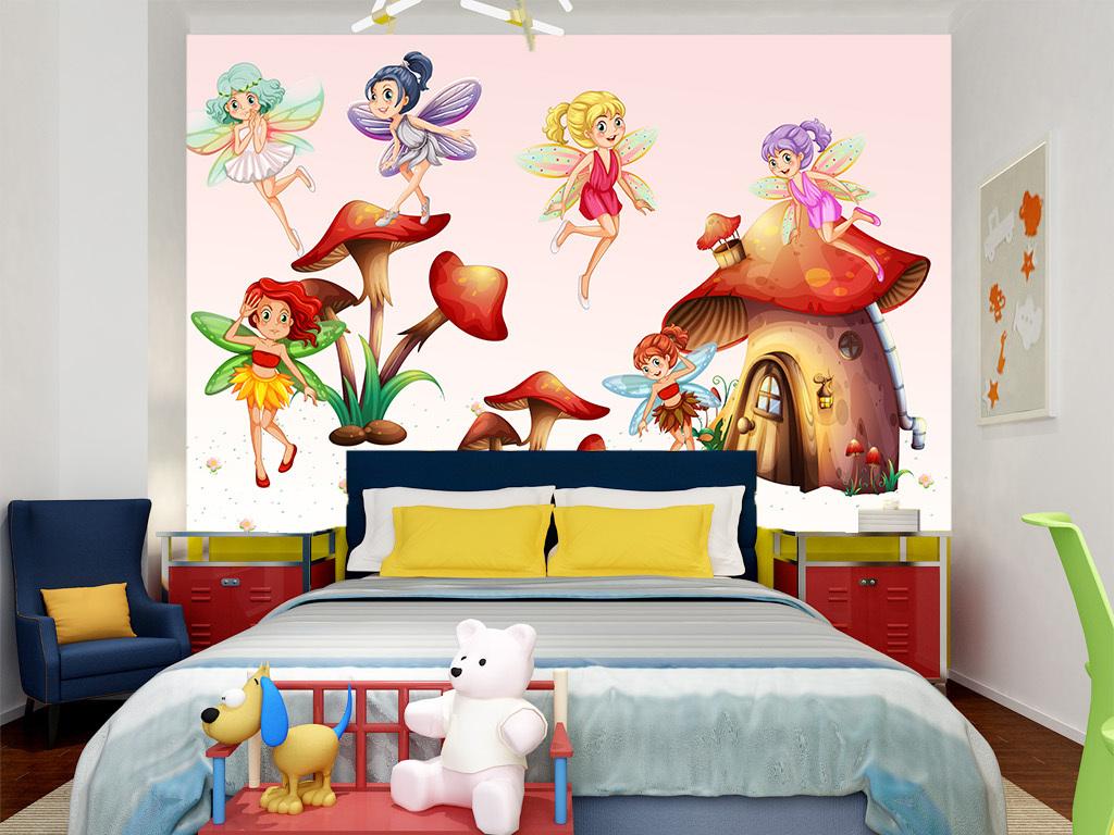 北欧现代简约手绘可爱精灵女孩儿童房背景墙