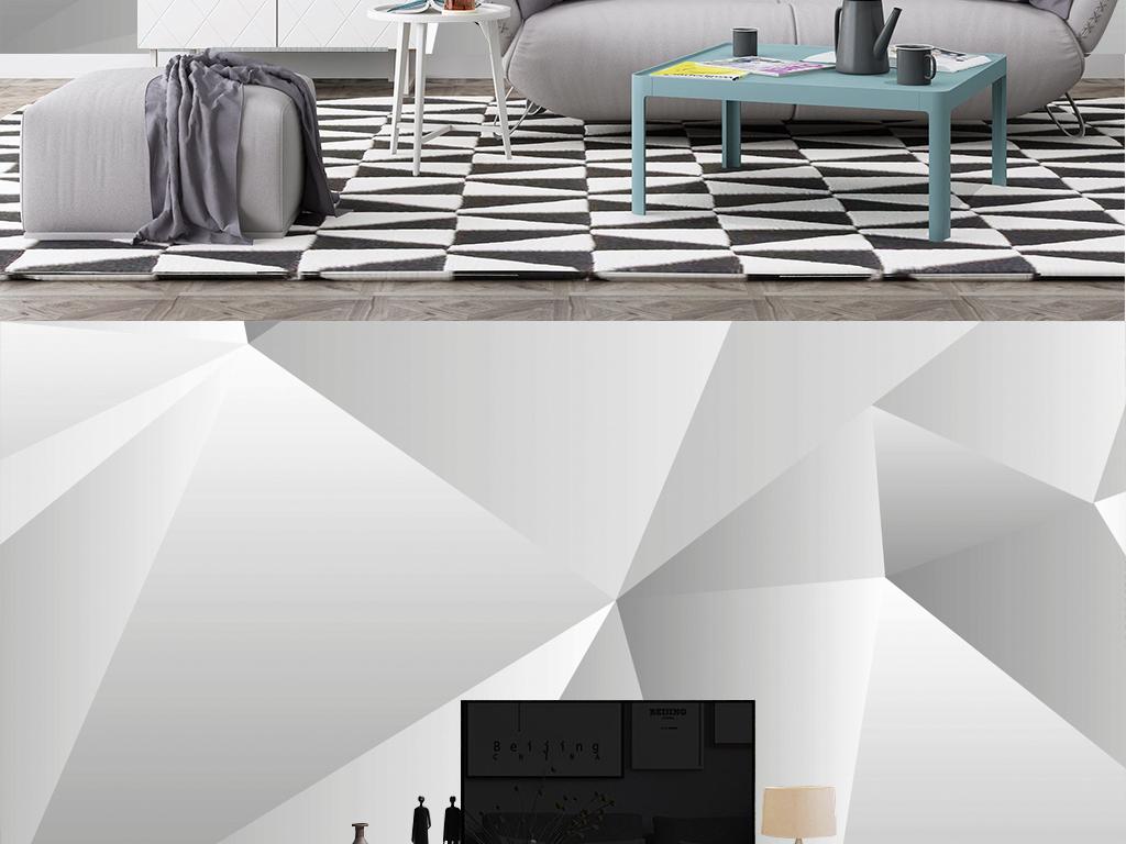 北欧抽象线条现代简约电视背景墙壁画图片