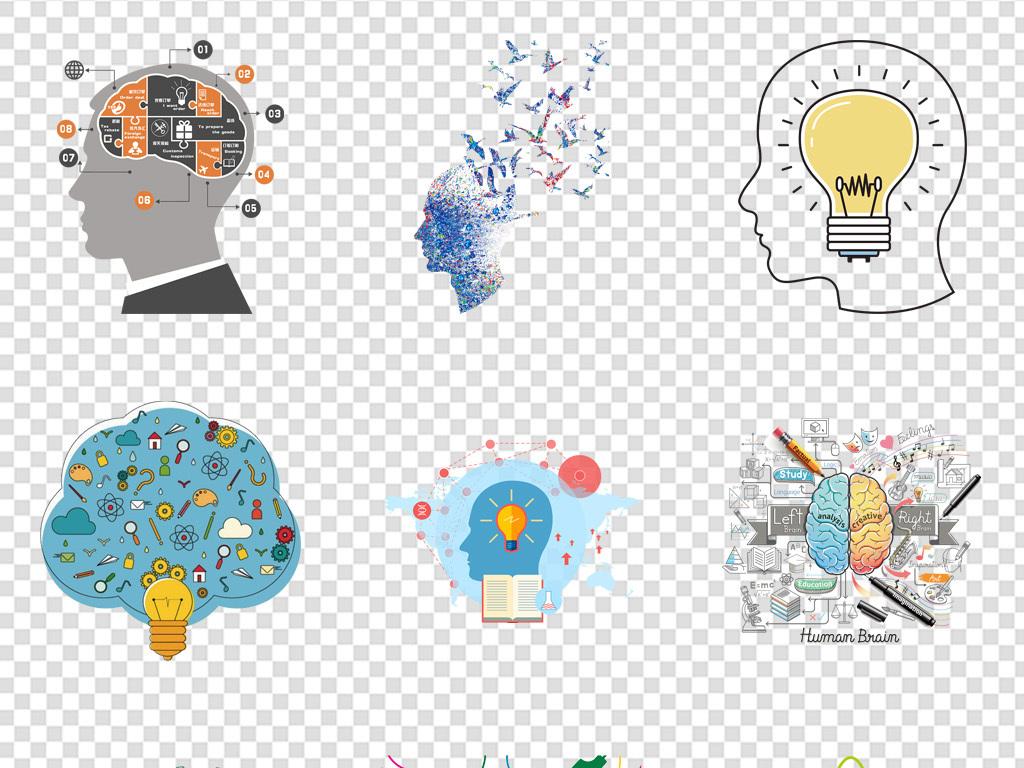 创意头脑风暴大脑思维人脑背景png图片