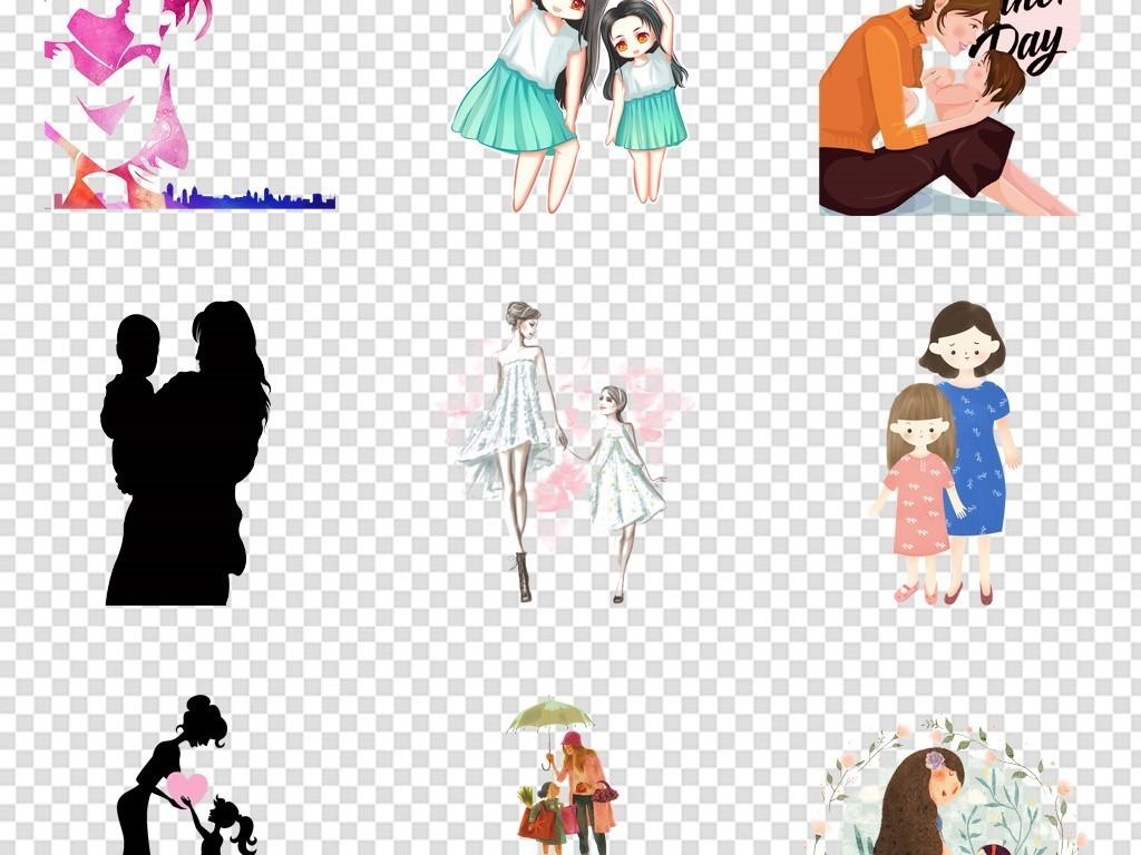 卡通手绘母女妈妈剪影母婴店png图片素材_模板下载(19