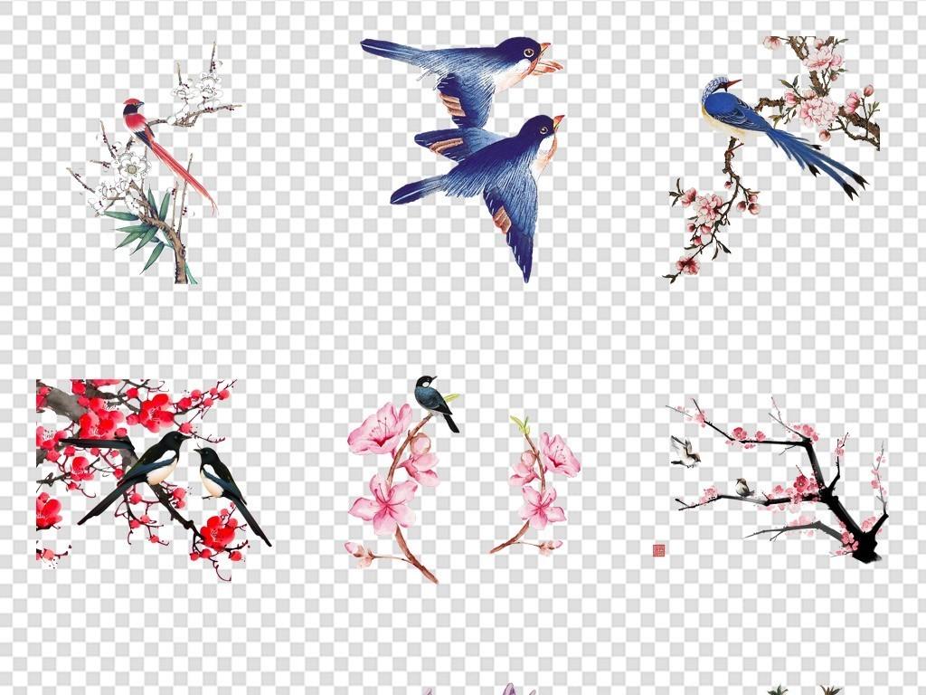 手绘水墨画古风动物小鸟素材情人节七夕素材情人节素材卡通背景喜鹊