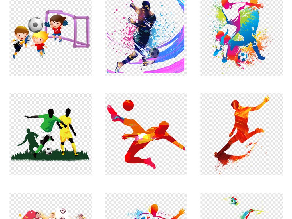 卡通手绘世界杯足球运动员踢足球人物png素材