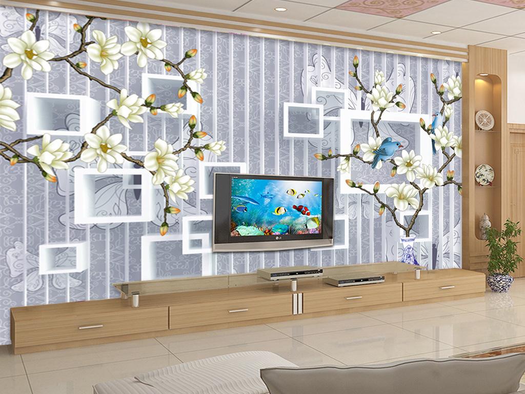 3d立体方框工笔手绘花鸟背景墙