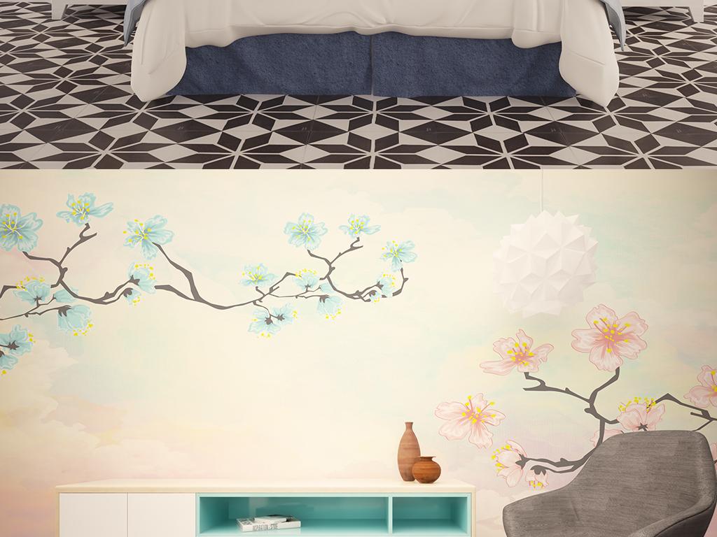 时尚简约手绘花壁画背景墙图片设计素材_高清ai模板(7